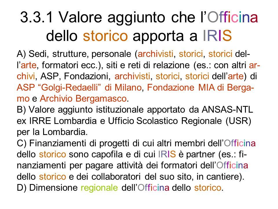 3.3.1 Valore aggiunto che lOfficina dello storico apporta a IRIS A) Sedi, strutture, personale (archivisti, storici, storici del- larte, formatori ecc