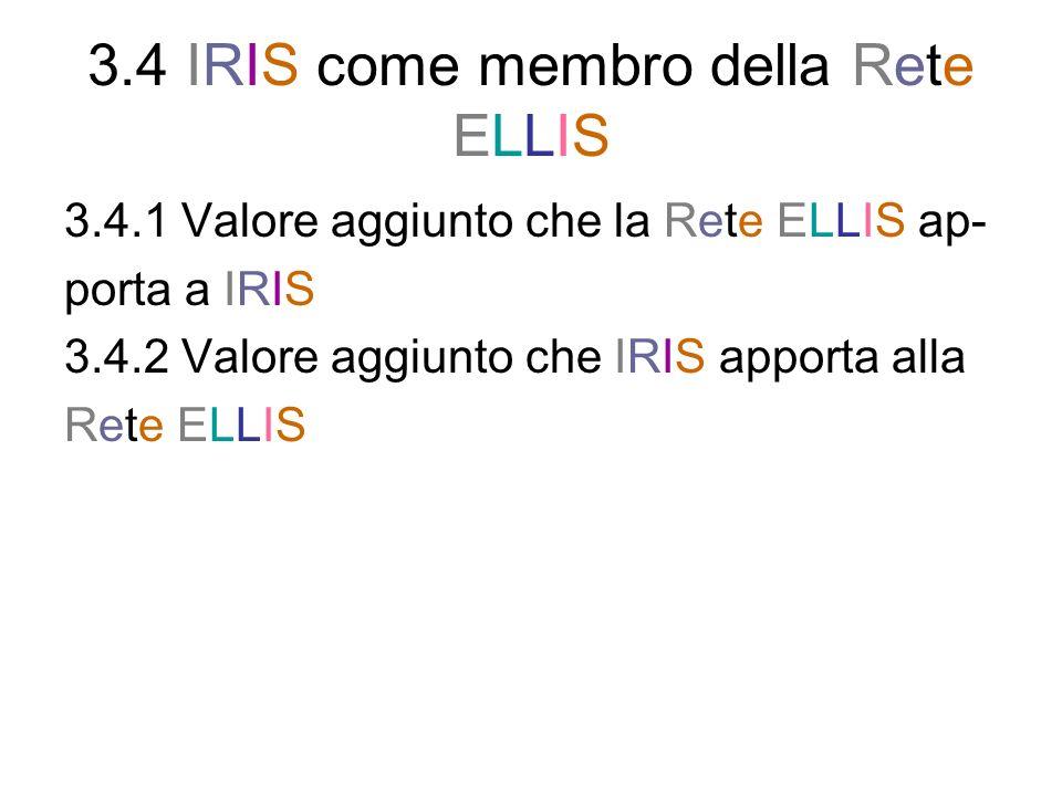 3.4 IRIS come membro della Rete ELLIS 3.4.1 Valore aggiunto che la Rete ELLIS ap- porta a IRIS 3.4.2 Valore aggiunto che IRIS apporta alla Rete ELLIS
