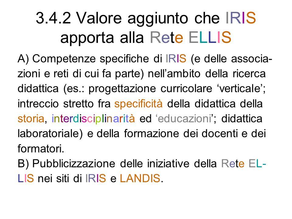 3.4.2 Valore aggiunto che IRIS apporta alla Rete ELLIS A) Competenze specifiche di IRIS (e delle associa- zioni e reti di cui fa parte) nellambito del