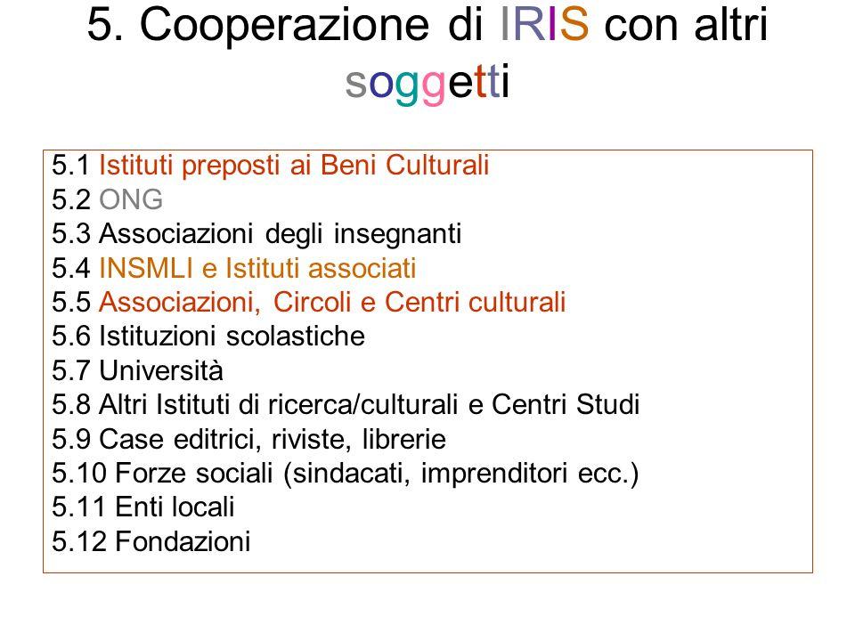 5. Cooperazione di IRIS con altri soggetti 5.1 Istituti preposti ai Beni Culturali 5.2 ONG 5.3 Associazioni degli insegnanti 5.4 INSMLI e Istituti ass