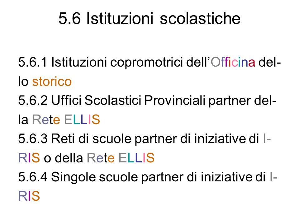 5.6 Istituzioni scolastiche 5.6.1 Istituzioni copromotrici dellOfficina del- lo storico 5.6.2 Uffici Scolastici Provinciali partner del- la Rete ELLIS