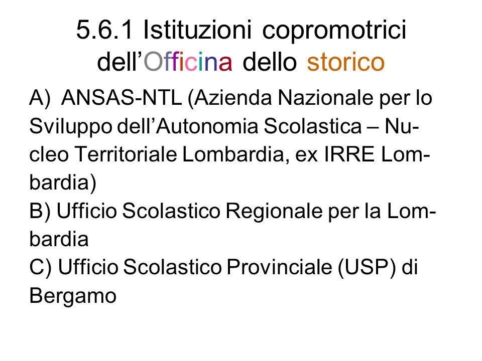 5.6.1 Istituzioni copromotrici dellOfficina dello storico A)ANSAS-NTL (Azienda Nazionale per lo Sviluppo dellAutonomia Scolastica – Nu- cleo Territori