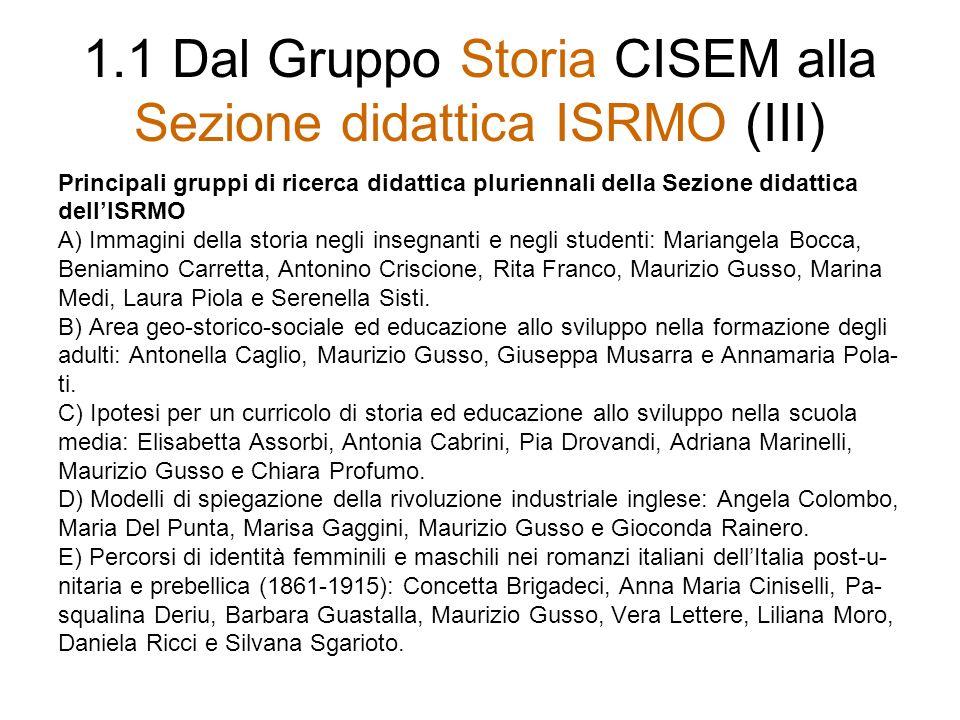 1.1 Dal Gruppo Storia CISEM alla Sezione didattica ISRMO (IV) Progetti e iniziative più significativi dellISRMO (Sezione didattica) 5-7 aprile 1989: Milano: Convegno nazionale Quante storie per un curricolo.