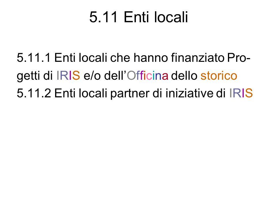 5.11 Enti locali 5.11.1 Enti locali che hanno finanziato Pro- getti di IRIS e/o dellOfficina dello storico 5.11.2 Enti locali partner di iniziative di