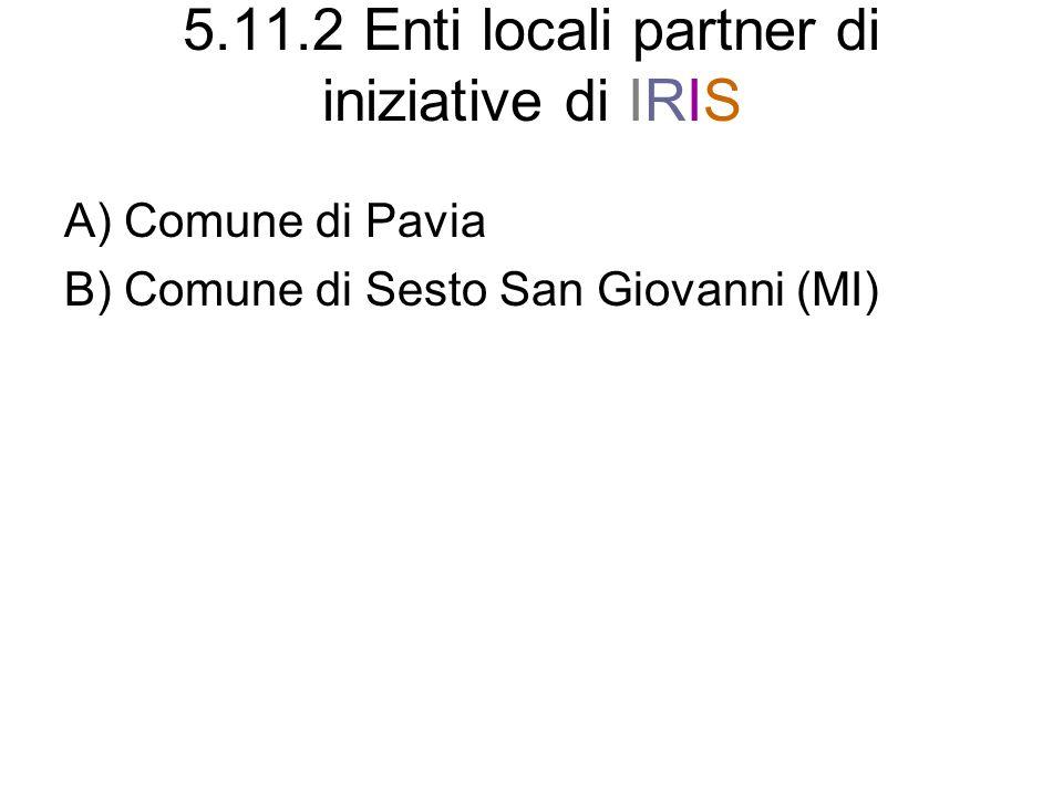 5.11.2 Enti locali partner di iniziative di IRIS A) Comune di Pavia B) Comune di Sesto San Giovanni (MI)