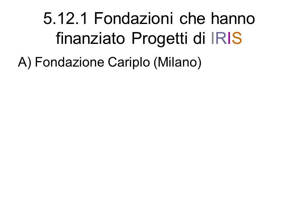 5.12.1 Fondazioni che hanno finanziato Progetti di IRIS A) Fondazione Cariplo (Milano)