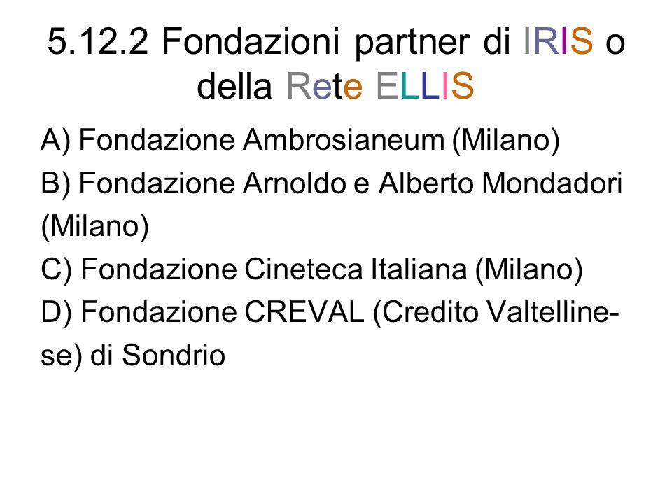 5.12.2 Fondazioni partner di IRIS o della Rete ELLIS A) Fondazione Ambrosianeum (Milano) B) Fondazione Arnoldo e Alberto Mondadori (Milano) C) Fondazi
