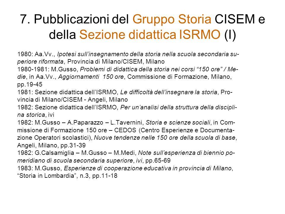 7. Pubblicazioni del Gruppo Storia CISEM e della Sezione didattica ISRMO (I) 1980: Aa.Vv., Ipotesi sullinsegnamento della storia nella scuola secondar