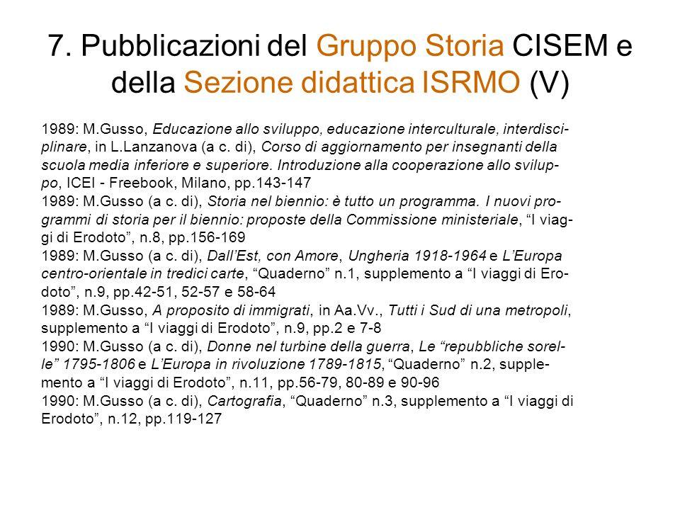 7. Pubblicazioni del Gruppo Storia CISEM e della Sezione didattica ISRMO (V) 1989: M.Gusso, Educazione allo sviluppo, educazione interculturale, inter