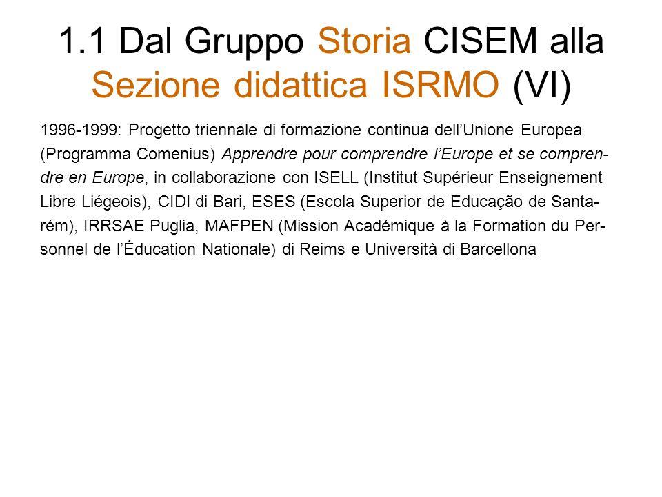 1.2 Dalla Sezione didattica ISRMO a IRIS: una prima metamorfosi (I) Nel 1999, non essendo la dirigenza dellI- SMEC più interessata alla Sezione didattica, questultima ha dovuto e voluto trasformarsi in IRIS.
