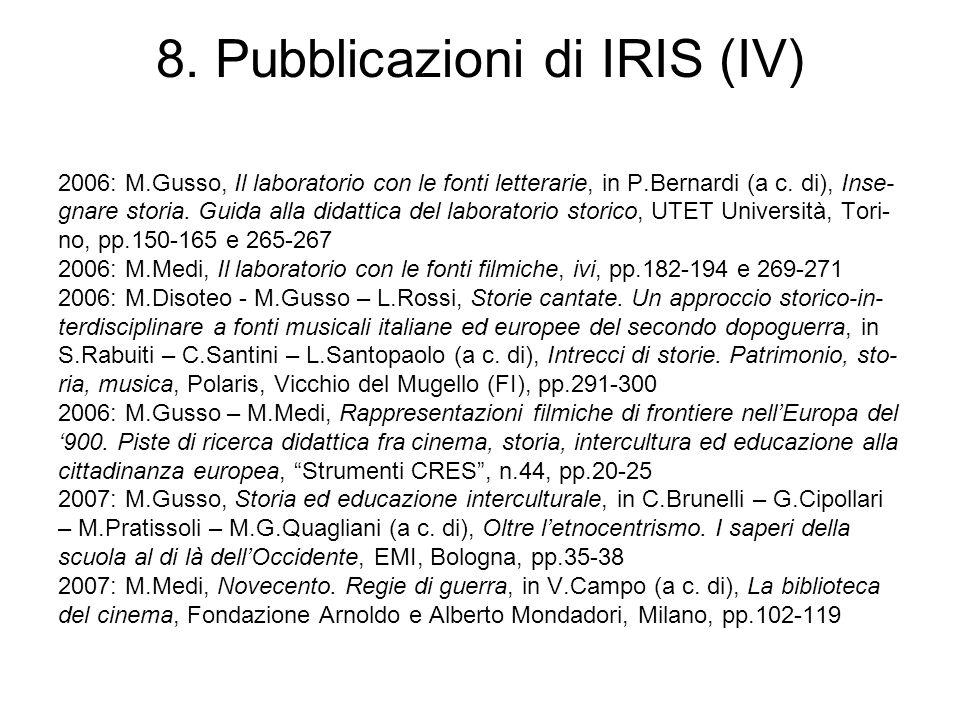 8. Pubblicazioni di IRIS (IV) 2006: M.Gusso, Il laboratorio con le fonti letterarie, in P.Bernardi (a c. di), Inse- gnare storia. Guida alla didattica