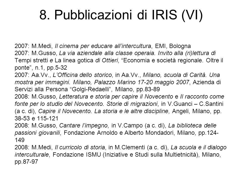 8. Pubblicazioni di IRIS (VI) 2007: M.Medi, Il cinema per educare allintercultura, EMI, Bologna 2007: M.Gusso, La via aziendale alla classe operaia. I
