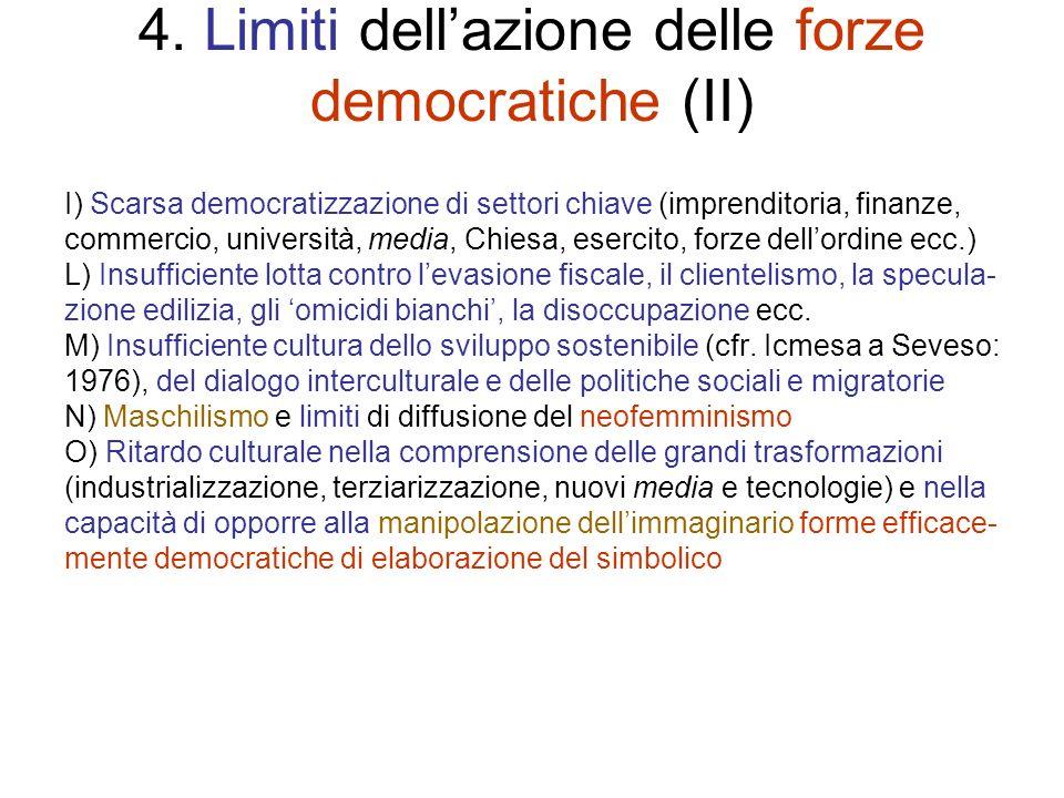 4. Limiti dellazione delle forze democratiche (II) I) Scarsa democratizzazione di settori chiave (imprenditoria, finanze, commercio, università, media