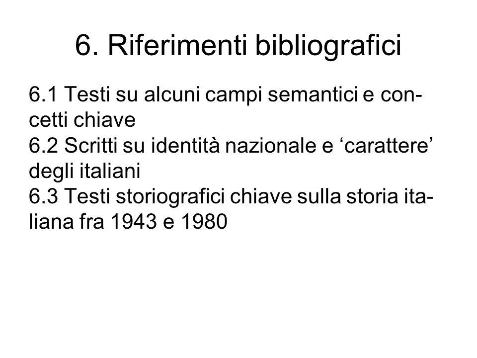 6. Riferimenti bibliografici 6.1 Testi su alcuni campi semantici e con- cetti chiave 6.2 Scritti su identità nazionale e carattere degli italiani 6.3