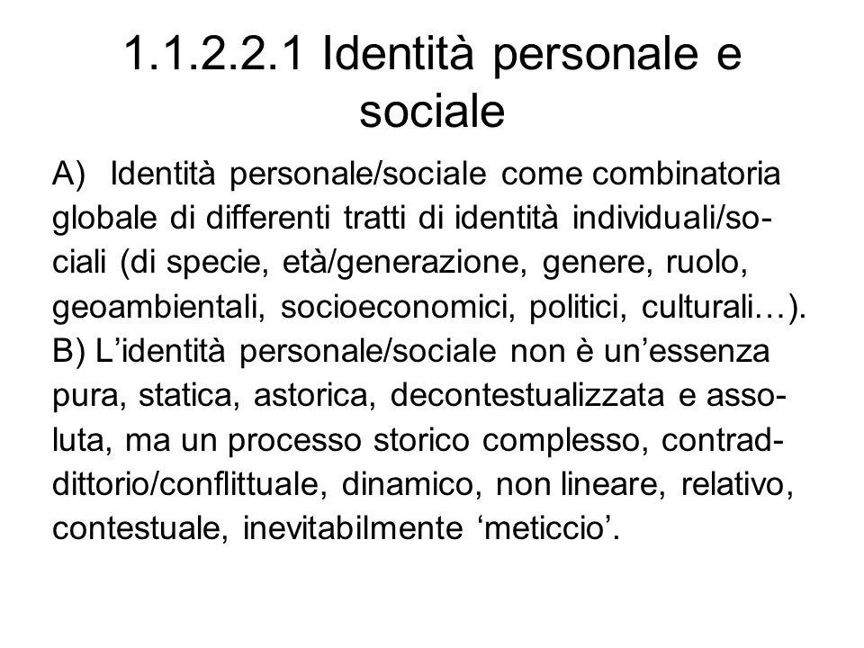 1.1.2.2.1 Identità personale e sociale A)Identità personale/sociale come combinatoria globale di differenti tratti di identità individuali/so- ciali (