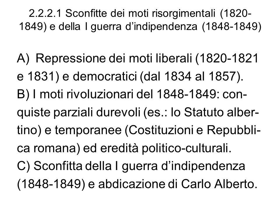 2.2.2.1 Sconfitte dei moti risorgimentali (1820- 1849) e della I guerra dindipendenza (1848-1849) A)Repressione dei moti liberali (1820-1821 e 1831) e