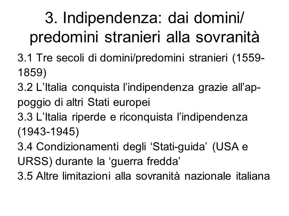 3. Indipendenza: dai domini/ predomini stranieri alla sovranità 3.1 Tre secoli di domini/predomini stranieri (1559- 1859) 3.2 LItalia conquista lindip