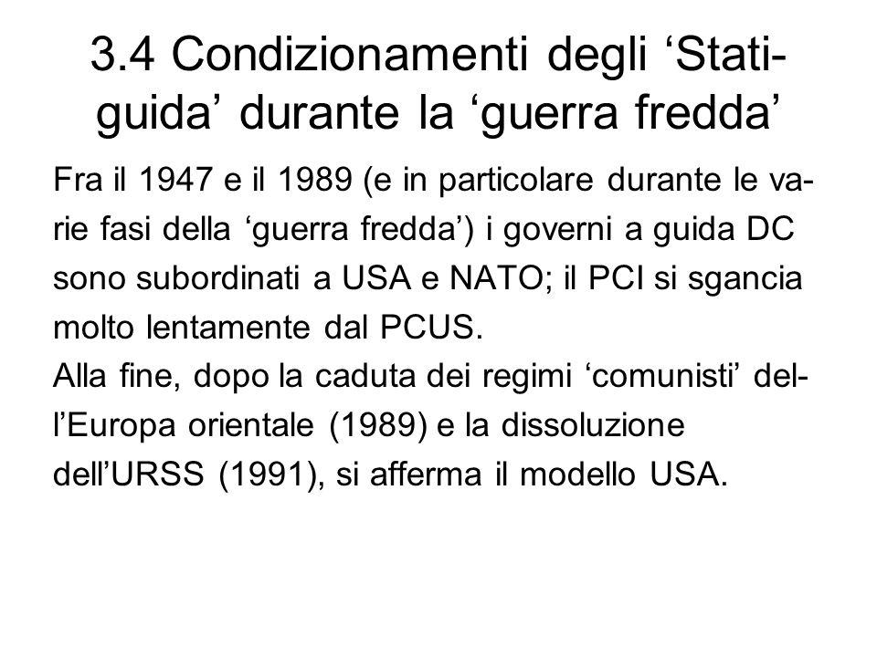 3.4 Condizionamenti degli Stati- guida durante la guerra fredda Fra il 1947 e il 1989 (e in particolare durante le va- rie fasi della guerra fredda) i