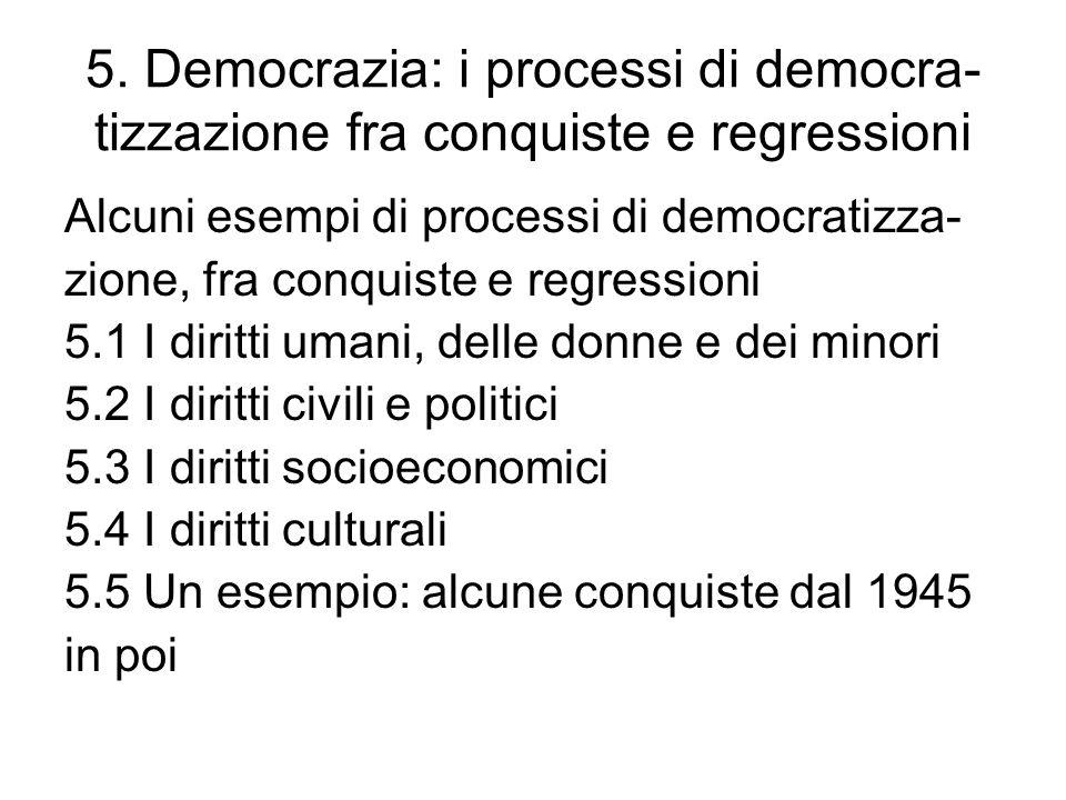 5. Democrazia: i processi di democra- tizzazione fra conquiste e regressioni Alcuni esempi di processi di democratizza- zione, fra conquiste e regress