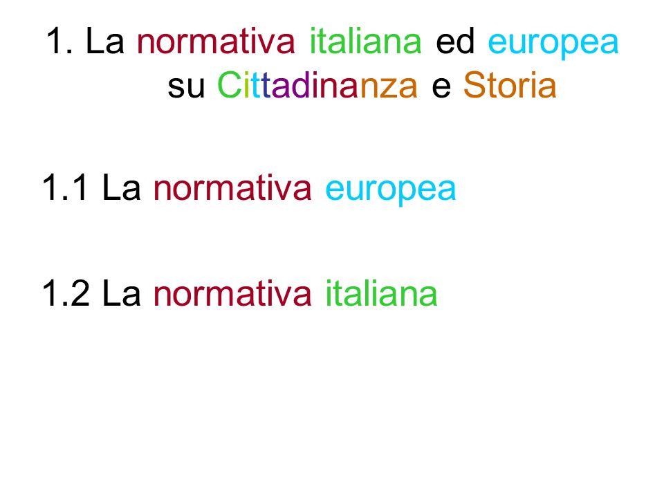1.1 La normativa europea 1.1.1 La strategia di Lisbona 1.1.2 Le otto competenze chiave per lapprendimento per- manente previste dalla Raccomandazione del Parlamento europeo e del Consiglio del 18 dicembre 2006 1.1.3 Programmi e siti europei di Educazione alla cittadi- nanza democratica/attiva 1.1.4 Le raccomandazioni del Consiglio dEuropa a propo- sito dellinsegnamento della Storia 1.1.5 Alcune ricorrenze europee o promosse dallEuropa