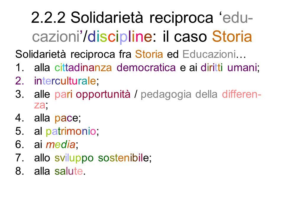 2.2.3 Solidarietà reciproca fra Sto- ria ed educazione alla cittadinanza La solidarietà reciproca fra Storia ed educa- zione alla cittadinanza è un caso particola- re della solidarietà reciproca fra discipline e nuove educazioni.