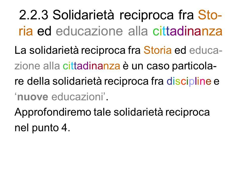 2.2.3 Solidarietà reciproca fra Sto- ria ed educazione alla cittadinanza La solidarietà reciproca fra Storia ed educa- zione alla cittadinanza è un ca