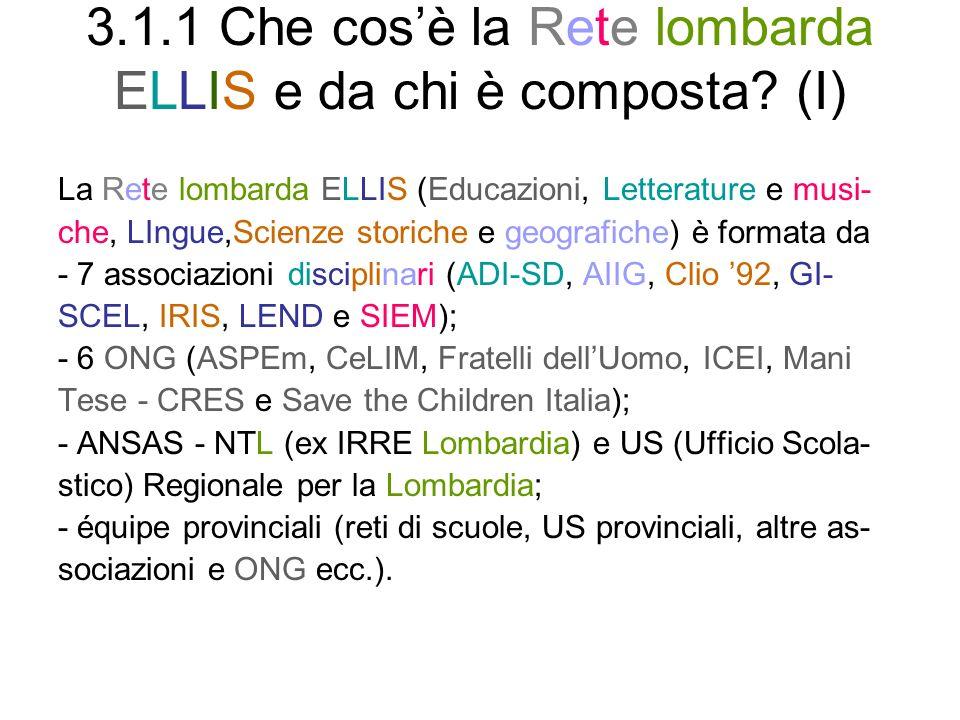 3.1.1 Che cosè la Rete lombarda ELLIS e da chi è composta.