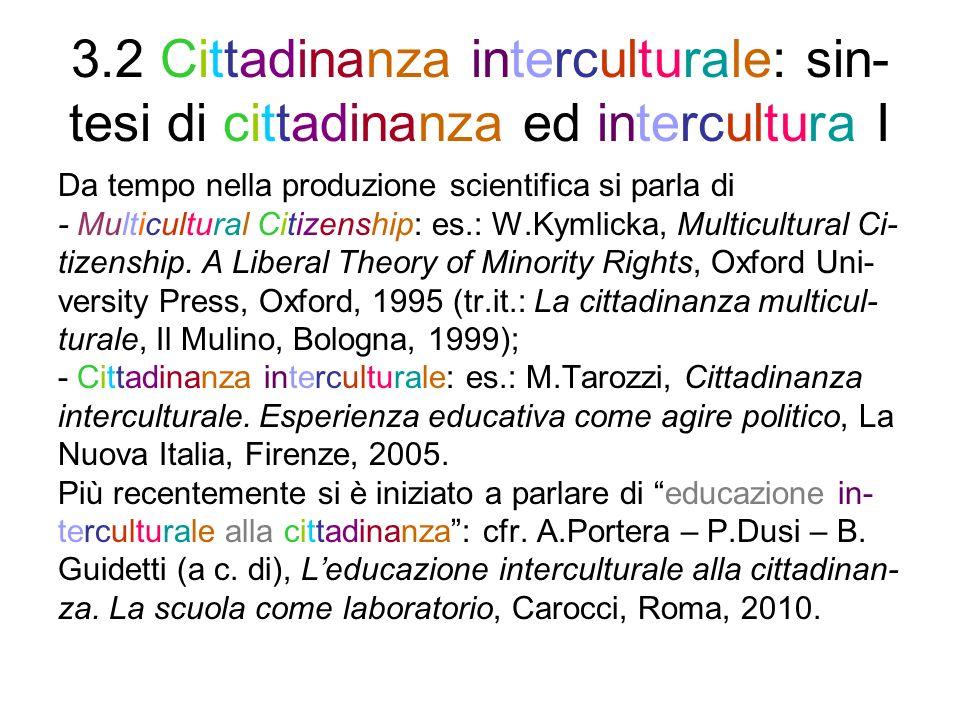 3.2 Cittadinanza interculturale: sin- tesi di cittadinanza ed intercultura II La Rete ELLIS ha utilizzato lespressione educa- zione alla cittadinanza interculturale (ECI) per un approccio integrato - alleducazione alla cittadinanza e - alleducazione interculturale, che tenga conto del carattere inclusivo, plurisca- lare/ad albero e duale/plurale della cittadinanza (v.