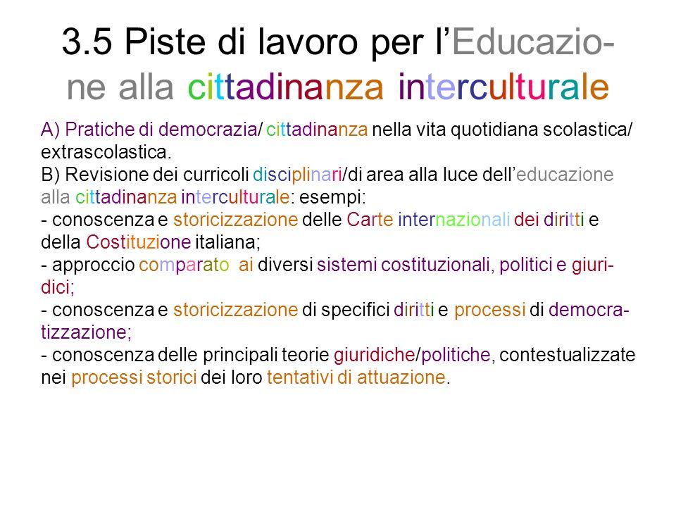 3.5 Piste di lavoro per lEducazio- ne alla cittadinanza interculturale A) Pratiche di democrazia/ cittadinanza nella vita quotidiana scolastica/ extra