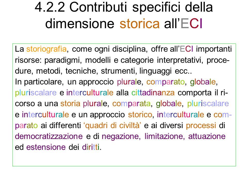 4.2.2 Contributi specifici della dimensione storica allECI La storiografia, come ogni disciplina, offre allECI importanti risorse: paradigmi, modelli