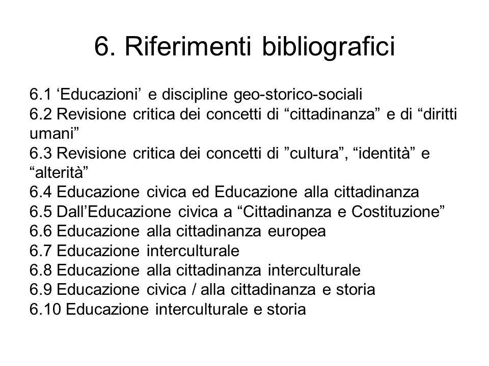 6.1 Educazioni e discipline geo-storico-sociali - Aa.Vv., Per un curricolo continuo di formazione geostorico-sociale nella scuola di base, IRRSAE Lombardia, Milano, 1994, voll.2 (in particolare cfr.