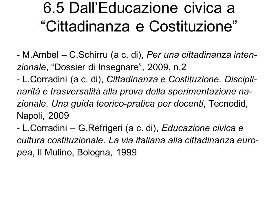 6.6 Educazione alla cittadinanza europea - F.Audigier, Per un approccio comparativo delleducazione alla cittadinanza in alcuni curricula europei, Ibis, Como-Pavia, 2007 (con il CD-ROM Léducation à la citoyenneté.