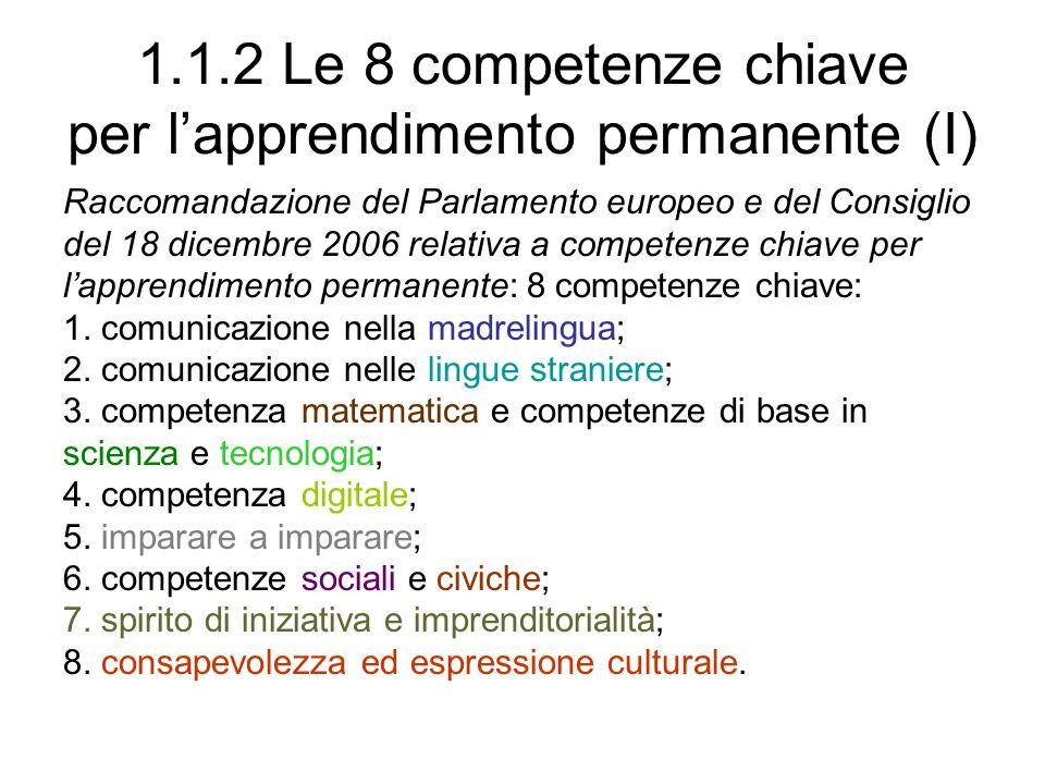 1.1.2 Le 8 competenze chiave per lapprendimento permanente (II) Osservazioni critiche: sono competenze eterogenee: a) solo la competenza n.