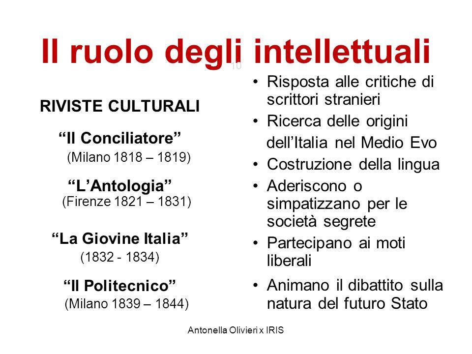 Antonella Olivieri x IRIS Il ruolo degli intellettuali 10 RIVISTE CULTURALI Il Conciliatore (Milano 1818 – 1819) LAntologia (Firenze 1821 – 1831) La G