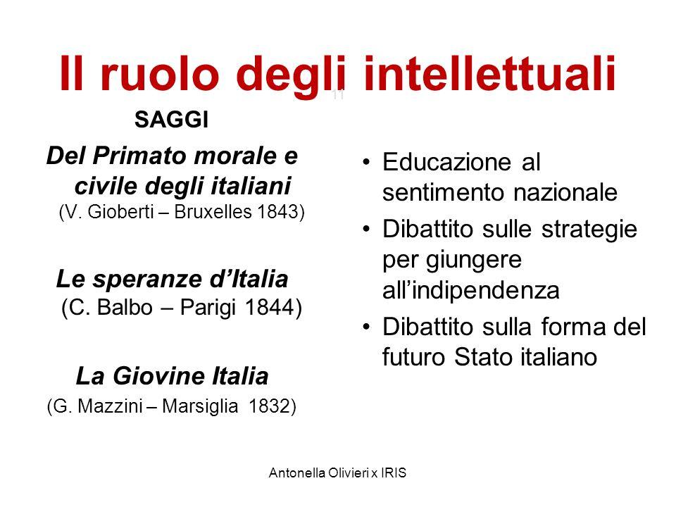 Antonella Olivieri x IRIS Il ruolo degli intellettuali 11 SAGGI Del Primato morale e civile degli italiani (V. Gioberti – Bruxelles 1843) Le speranze