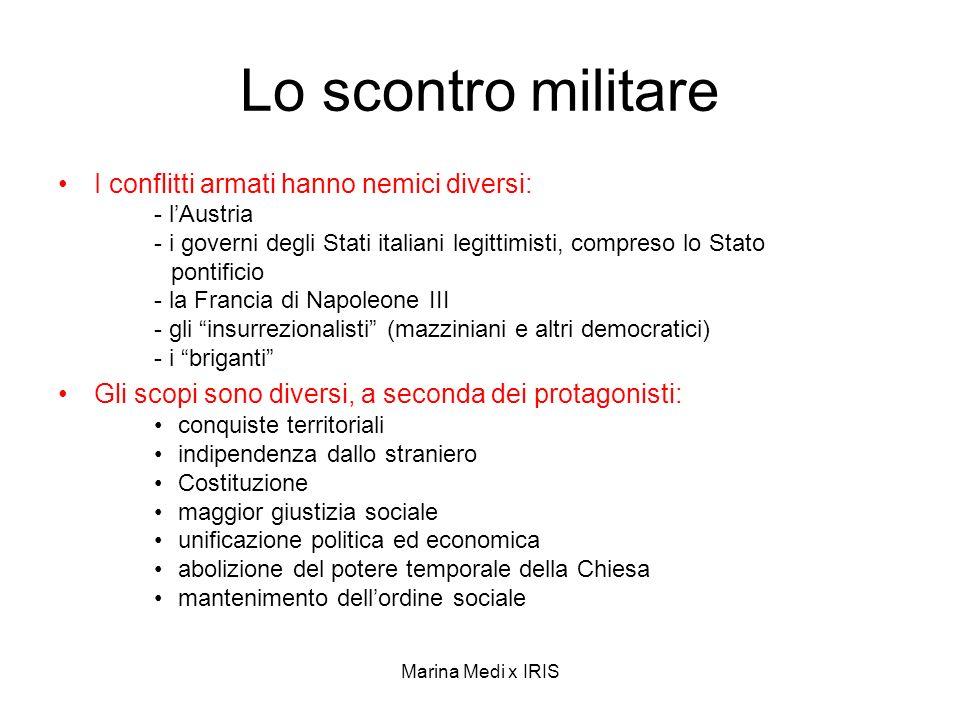 Marina Medi x IRIS Lo scontro militare I conflitti armati hanno nemici diversi: - lAustria - i governi degli Stati italiani legittimisti, compreso lo