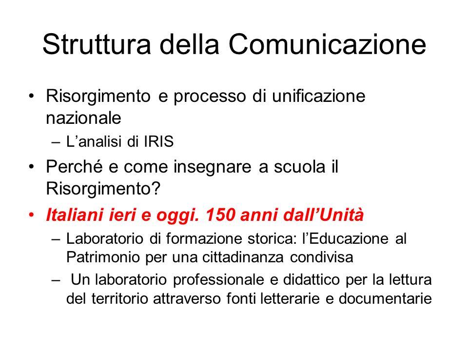 Struttura della Comunicazione Risorgimento e processo di unificazione nazionale –Lanalisi di IRIS Perché e come insegnare a scuola il Risorgimento? It