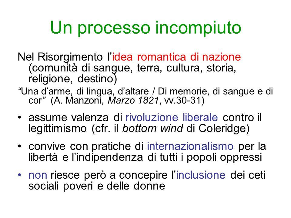 Un processo incompiuto Nel Risorgimento lidea romantica di nazione (comunità di sangue, terra, cultura, storia, religione, destino) Una darme, di ling