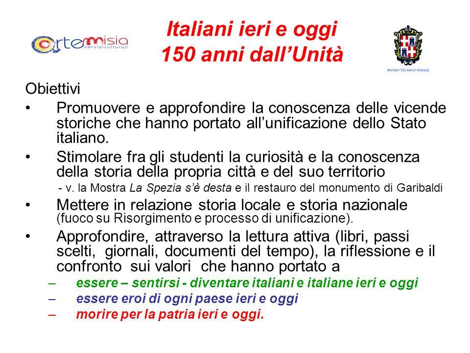 Italiani ieri e oggi 150 anni dallUnità Obiettivi Promuovere e approfondire la conoscenza delle vicende storiche che hanno portato allunificazione del