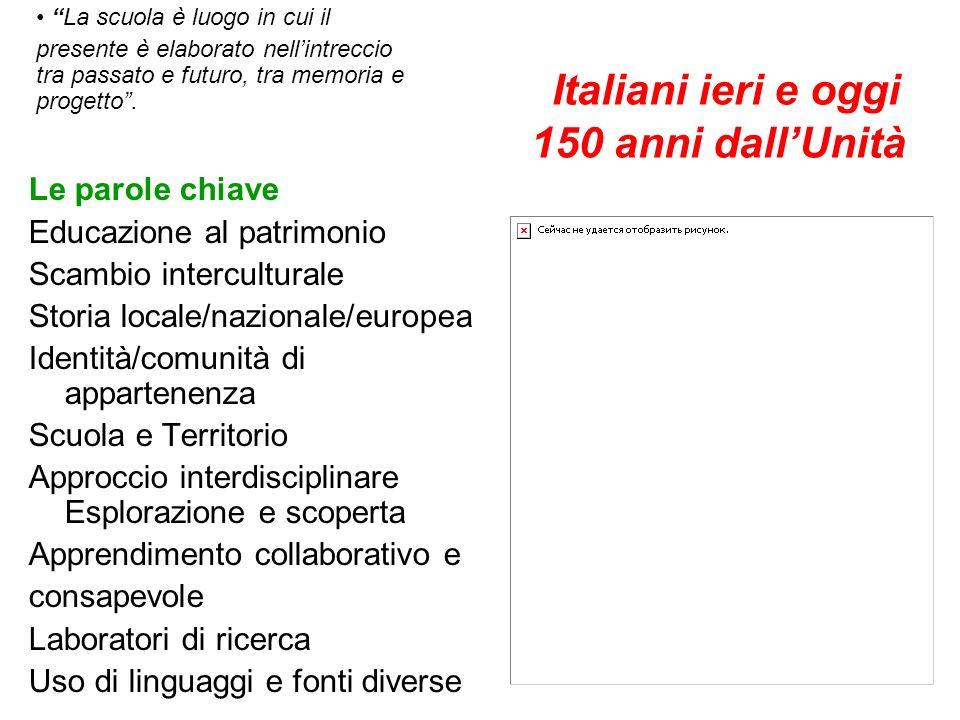 Italiani ieri e oggi 150 anni dallUnità Le parole chiave Educazione al patrimonio Scambio interculturale Storia locale/nazionale/europea Identità/comu