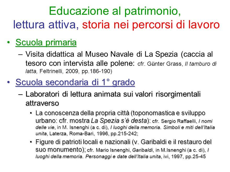 Educazione al patrimonio, lettura attiva, storia nei percorsi di lavoro Scuola primariaScuola primaria –Visita didattica al Museo Navale di La Spezia
