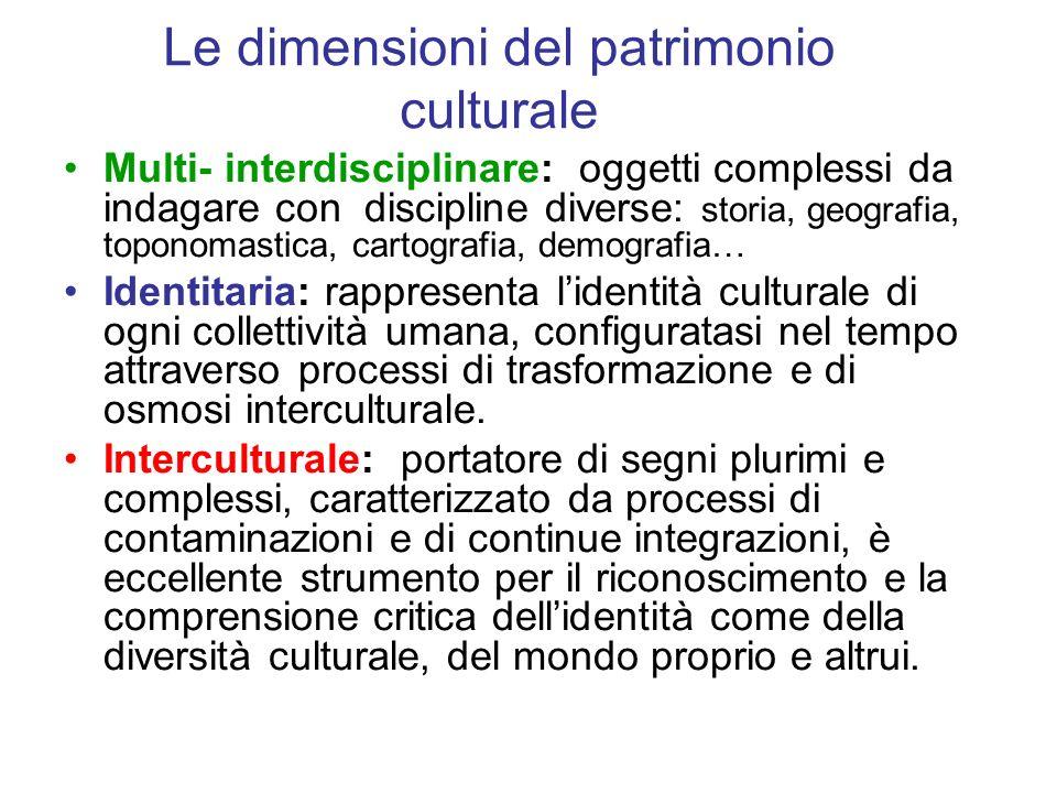 Le dimensioni del patrimonio culturale Multi- interdisciplinare: oggetti complessi da indagare con discipline diverse: storia, geografia, toponomastic