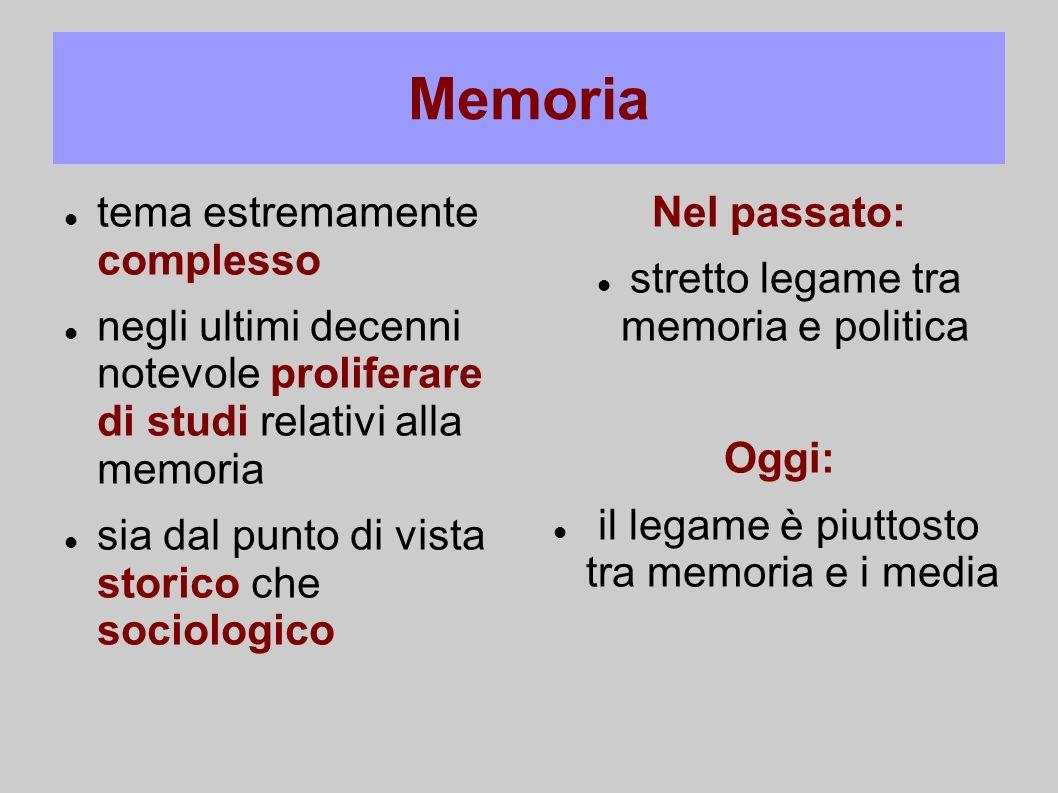 Memoria tema estremamente complesso negli ultimi decenni notevole proliferare di studi relativi alla memoria sia dal punto di vista storico che sociol