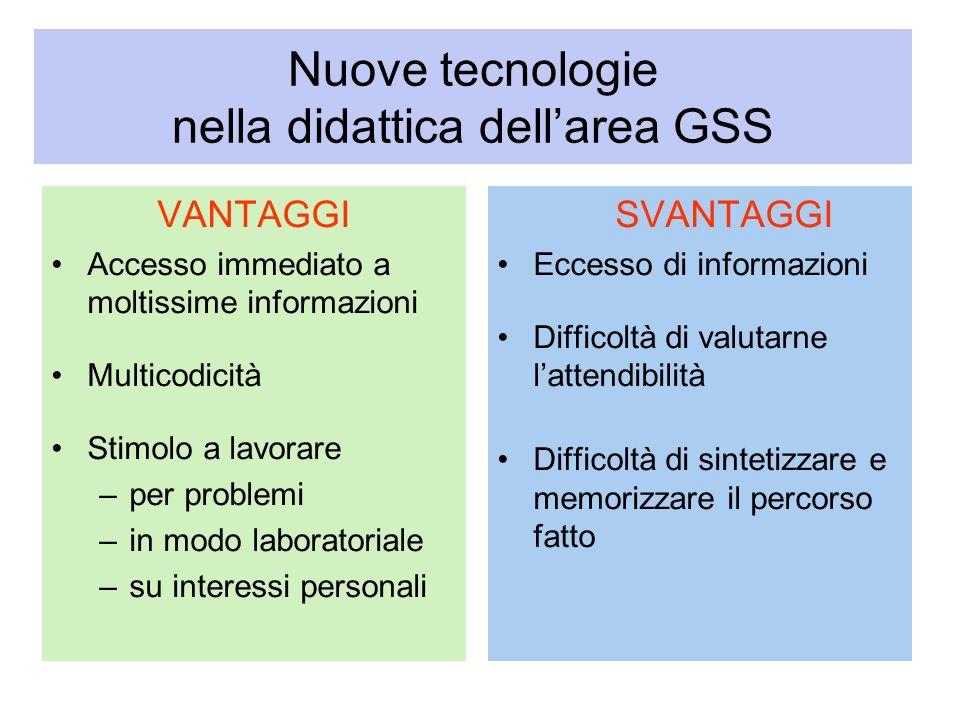 Nuove tecnologie nella didattica dellarea GSS VANTAGGI Accesso immediato a moltissime informazioni Multicodicità Stimolo a lavorare –per problemi –in