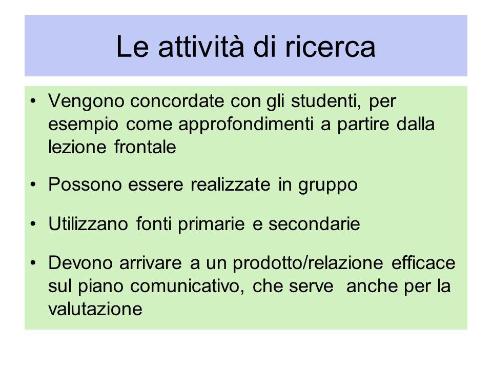 Le attività di ricerca Vengono concordate con gli studenti, per esempio come approfondimenti a partire dalla lezione frontale Possono essere realizzat