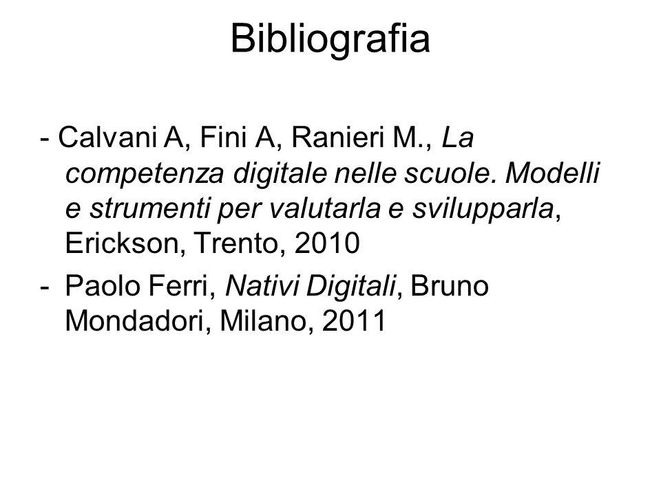 Bibliografia - Calvani A, Fini A, Ranieri M., La competenza digitale nelle scuole. Modelli e strumenti per valutarla e svilupparla, Erickson, Trento,