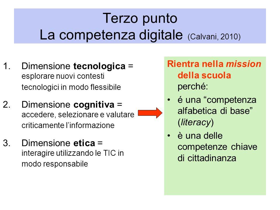 Terzo punto La competenza digitale (Calvani, 2010) 1.Dimensione tecnologica = esplorare nuovi contesti tecnologici in modo flessibile 2.Dimensione cog
