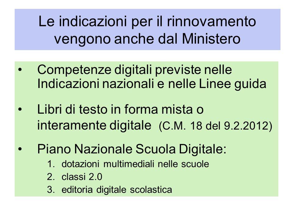 Le indicazioni per il rinnovamento vengono anche dal Ministero Competenze digitali previste nelle Indicazioni nazionali e nelle Linee guida Libri di t