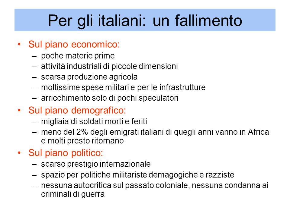 Per gli italiani: un fallimento Sul piano economico: –poche materie prime –attività industriali di piccole dimensioni –scarsa produzione agricola –mol