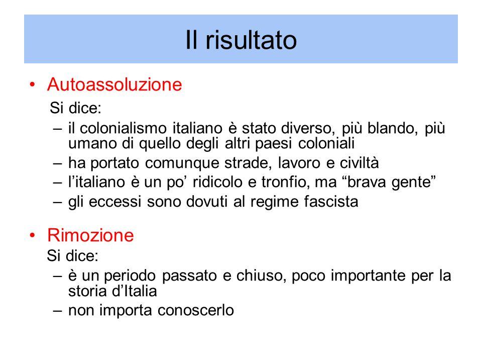 Il risultato Autoassoluzione Si dice: –il colonialismo italiano è stato diverso, più blando, più umano di quello degli altri paesi coloniali –ha porta